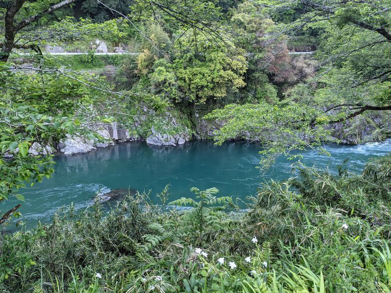ホテル郡上八幡 やすらぎの湯 宝泉 外気浴参照 目下に流れる長良川、目の前は山