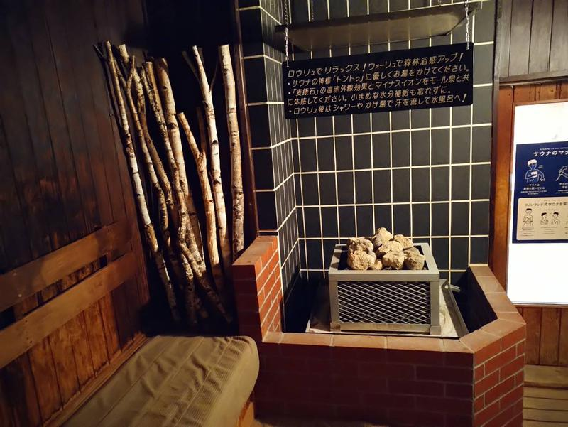 森のスパリゾート 北海道ホテル 壁には白樺の切り株や枝、サウナストーンには清水町の麦飯石を使用、十勝素材を生かしたサウナです!