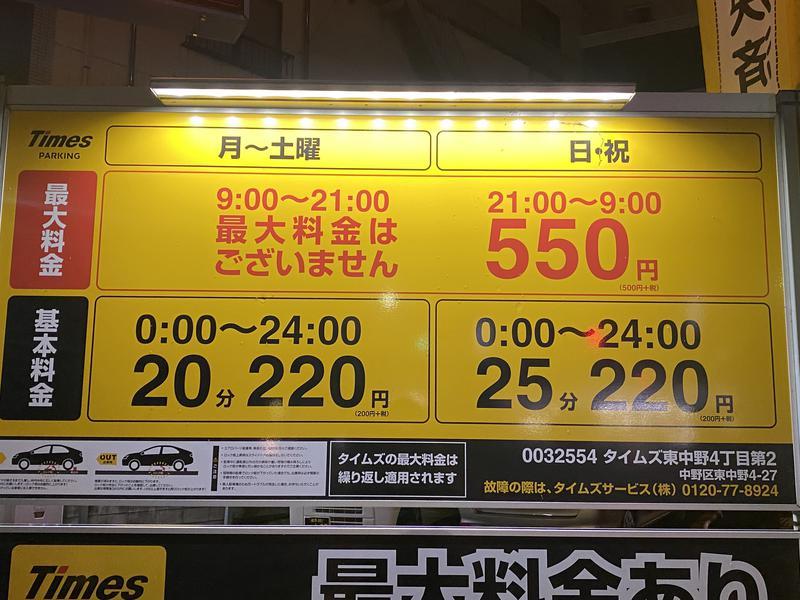 松本湯 店の前のコインP