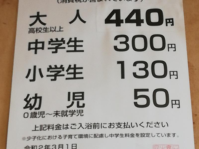 寺井湯 入浴料金