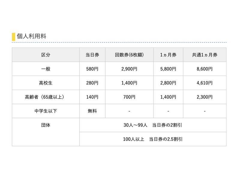 札幌市平岸プール 料金表
